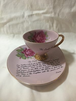 Cup And Saucer With Lord's Prayer