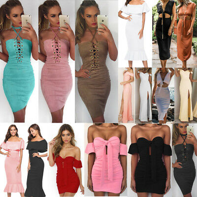 UK Womens Off Shoulder Halter Neck Bodycon Party Ladies Summer Short Mini Dress