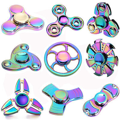 Tri Fidget Hand Spinner Metal Rainbow Finger Gyro Desk Toy EDC Focus ADHD Autism