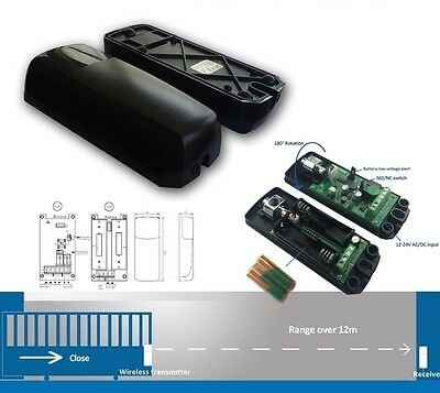 Wireless Battery Powered Photocell Safety Beam Gate Door Infra Red Sensor