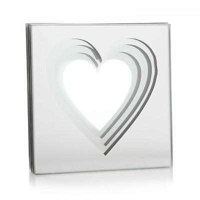 S/4 Love Heart Mirrored Glass Coffee Table Mugs Mats Drink Coaster Coasters Set