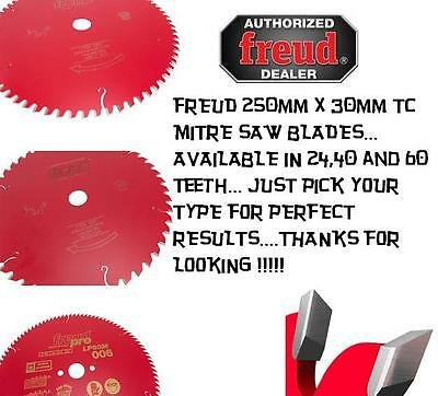Freud 250mm x 30mm TC  Mitre Circular saw blades Available in 24, 40 and 60 Teet