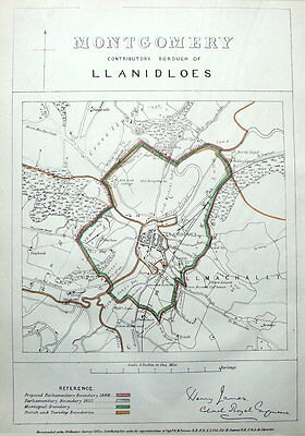 WALES, LLANIDLOES, MONTGOMERY, POWYS,  Antique Map 1868