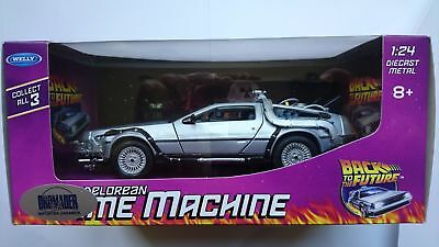 Welly Delorean Time Machine 1:24 Die Cast Metal New In Box Back To The Future 1