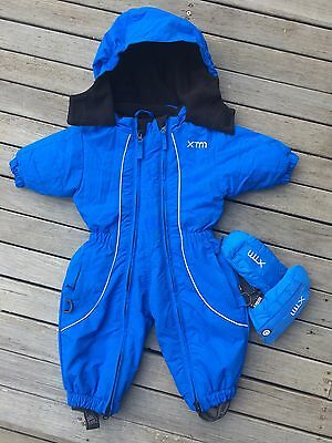New Xtm Infant Baby Papoose Snow Ski Suit & Mittens 0