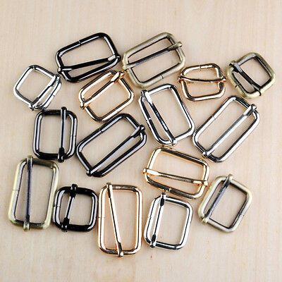 Metal Sliding Bar Strap Adjuster Buckles Slider 20mm 25mm 32mm 38mm 4 Colors