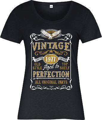 Made in 1977 Vintage Ladies T-Shirt, Born 1977 Birthday Age Year Gift Top