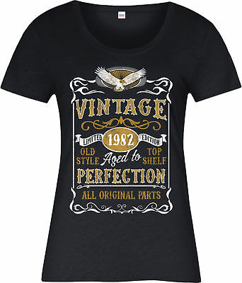 Made in 1982 Vintage Ladies T-Shirt, Born 1982 Birthday Age Year Gift Top