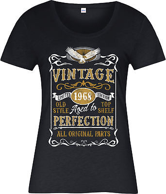 Made in 1968 Vintage Ladies T-Shirt, Born 1968 Birthday Age Year Gift Top