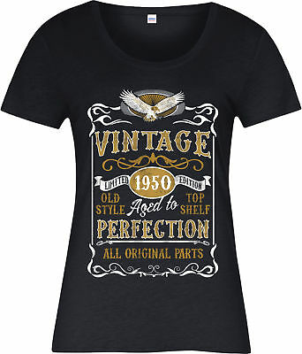Made in 1950 Vintage Ladies T-Shirt, Born 1950 Birthday Age Year Gift Top