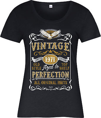 Made in 1971 Vintage Ladies T-Shirt, Born 1971 Birthday Age Year Gift Top