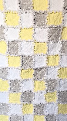 Handmade Rag Quilt - Brand New - Yellow / Grey