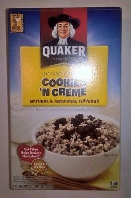 QUAKER Instant Oatmeal Oats Cookies 'N Creme Canadian Import RARE 8 ind packets