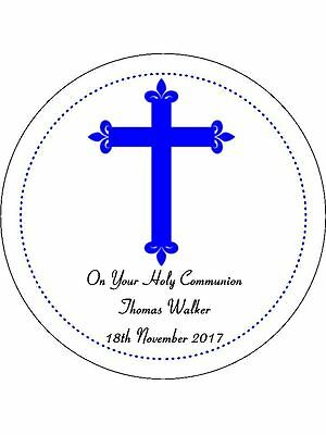 30-90 Pre-Cut Edible Wafer Cup Cake Toppers Confirmation Or Holy Communion Blue