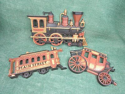 Vintage 3 Piece Homco Dart Wall Décor - Train, Trolley & Stagecoach dated 1975