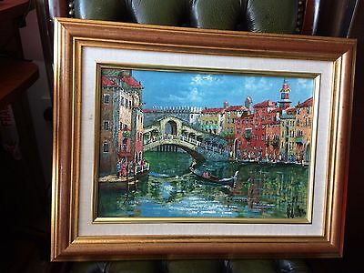 Vintage Painting Oil On Board Featuring Venice Bridge Over Canal
