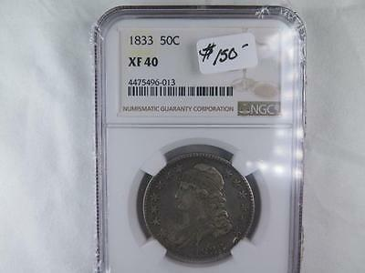 1833 50C Capped Bust Half Dollar. NGC Certified Problem Free XF40. NICE COIN.