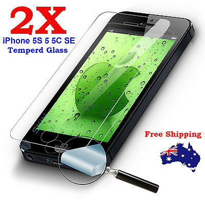 2x Tempered Glass Screen Protector Film for Apple iPhone 5S 5 SE 5c Anti Scratch