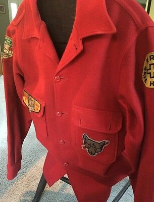 Vintage Official Boy Scout Bright Red Wool Heavy Coat Jacket Minsi Pa Ceremonial