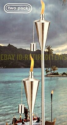 "2 GARDEN OIL TORCH Stainless Steel Cone Tiki Lantern Lamp Outdoor Patio 59"" Set"