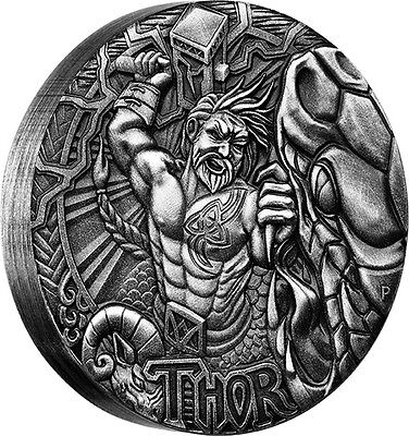 2016 Norse Gods Thor 2oz Silver High Relief Antiqued Coin