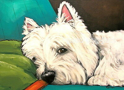 """West Highland Terrier ACEO WESTIE PRINT Painting """"A QUICK PEEK"""" Dog Art RANDALL"""