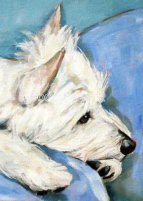 """West Highland Terrier ACEO WESTIE PRINT Painting """"JUST THINKING"""" Dog Art RANDALL"""