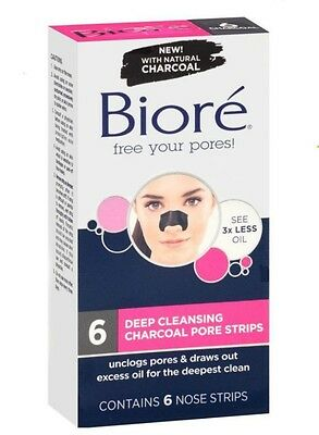 Biore Charcoal Deep Cleansing Pore Strip - 6 Nose Strips