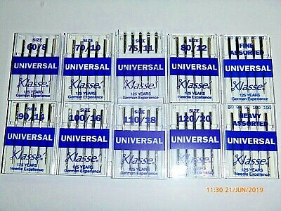 5 Klasse Assorted Universal Domestic Sewing Machine Needles Janome Singer Elna
