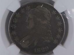 1829 Capped Bust Half Dollar.  NGC Certified Problem Free, VF25. Nice Eye Appeal