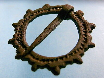 Bronze Viking 9th-11th Century Decorated Circular Ring Brooch With Pin. (A857)