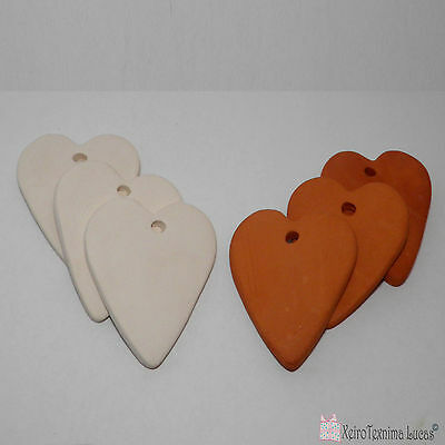 3 Bisque Ceramic Hearts 6 cm Handmade Ceramic Ornaments. Heart Tiles from Clay