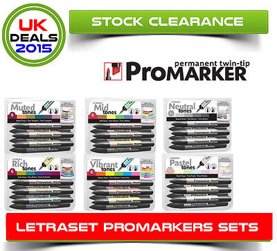 Letraset Promarker Mid,muted,neutral,rich,pastel,vibrant Tone Pack Of 6 Markers