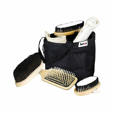 New! Horze Wooden Grooming Kit with Bag & Brushes