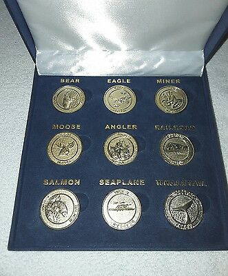 PASSIONS by Gary K. 9 Pc Brass Coin Collection Bear, Eagle, Railroad 30mm Coins