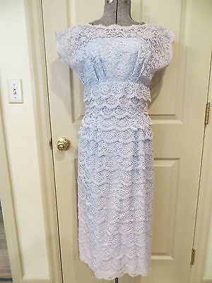 Vintage 50's-60's Blue Tiered Lace Bombshell Pin Up Designer Dress