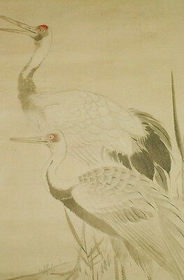 Hanging Scroll Picture Japanese Painting Crane Japan Antique Old Asian art b088