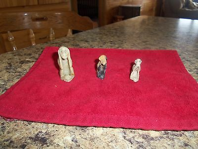 mini carved hear/see/speak no evil set of monkeys
