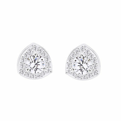 925 Sterling Silver 0.47 ct D VVS1 Round Cut Triangular Halo Stud Earrings $192