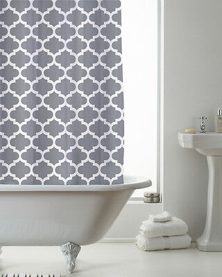 Country Club Shower Curtain 180x180 Moroccan Grey Modern Contemporary White