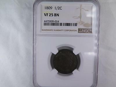 1809 Halve Cent. Early Date Collectible Coin. NGC Certified VF25. Nice Coin.