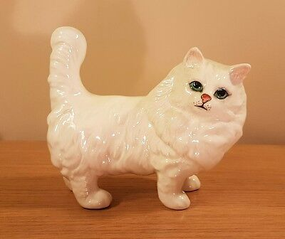 Beswick Pottery - Hand Painted White Persian Cat Figure - Lovely!