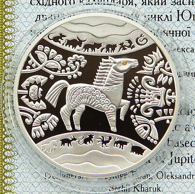 Ukraine 5 UAH 2014 PROOF 1/2 OZ Silver COA 15.55gr (Year of the Horse)