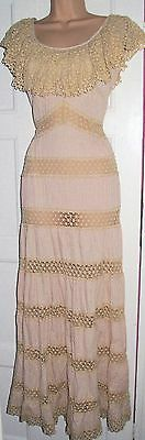 Vintage Mexican 1970s Pink Crochet Lace Panelled Maxi Dress UK8-10
