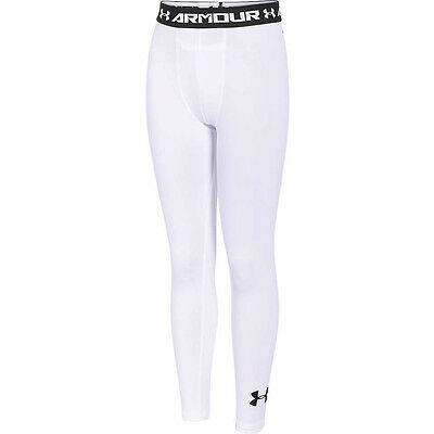 Under Armour HEATGEAR FITTED LEGGINGS WHITE SIZE XL BOYS Youth Sport NWT