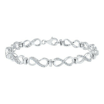 Holiday Sale 1/4 Ct Natural Diamond Infinity Bracelet In Sterling Silver