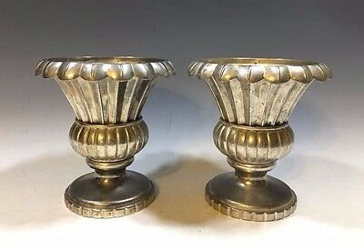 Vintage Pair Of Silverplate Scallop Edge Urns/Vases