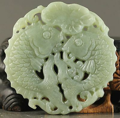 Old Chinese natural jade hand-carved statue of double fish pendant NO.Y1023