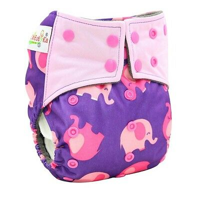 1 Bamboo Charcoal AI2 Pink Elephant Cloth Diaper Nappy Double Gusset Adjustable