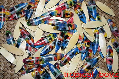 50 Handmade Airbrushed Surfboard Dolphin Wood Pendants Wholesale for Necklaces